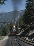 A Steam Engine Comes into the Silver Plume Station in Colorado