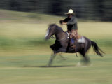 Cowboy and Horse at Hartgrave Ranch  Montana  USA