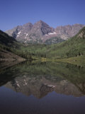 The Maroon Bells Look at Themselves in the Reflection of the Lake  Aspen  Colorado