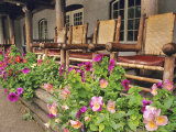 Flowers and Wooden Chairs at Lake McDonald Lodge  Glacier National Park  Montana  USA