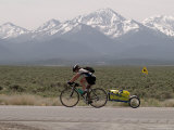 Cross-Country Bicyclist  US Hwy 50  Toiyabe Range  Great Basin  Nevada  USA