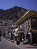 A Classic Western Downtown Street with Mountains Looming in the Back  Georgetown  Colorado