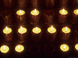 Votive Candles in a Church Symbolize Christian Prayers  Bavaria  Germany