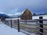 Old Barn with Winter Storm near Cle Elum  Washington  USA