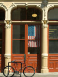 Bicycle at Entrance to the Blagen Building in Old Town  Portland  Oregon  USA
