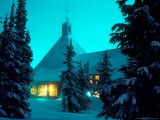 Timberline Lodge at Night in the Snow  Oregon Cascades  USA