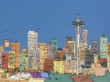 Seattle Skyline with Full Moon Rising  Washington  USA