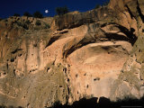 Moonrise over Painted Cave  Pueblo Rock Art  Bandelier National Monument  New Mexico  USA