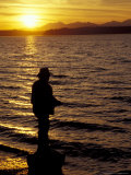 Silhouette of Fisherman at Lincoln Park  Seattle  Washington  USA