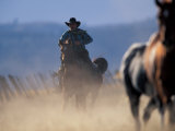 Cowboy Riding Horseback  Oregon  USA