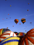 Hot Air Balloons on the Ground and in the Air in Albuquerque  New Mexico  USA
