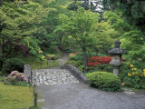 Stone Bridge and Pathway in Japanese Garden  Seattle  Washington  USA