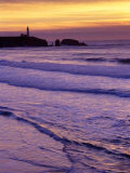 Waves near Yaquina Head Lighthouse at Sunset  Newport  Oregon Coast  USA