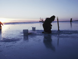 Ice Fishing at Sunset  Canada