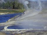 Geyser along Firehole River  Yellowstone National Park  Wyoming  USA