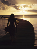Woman Walking on Pier at Sunset  Martinique