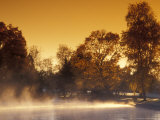 Steam Rises off Pond at Pioneer Park at Sunrise  Washington  USA