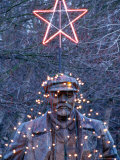 Christmas Lights on a Statue of Lenin  Seattle  Washington  USA