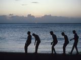 Silhouette of Men on Beach  Martinique