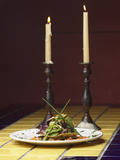 Romantic Gourmet Meal Beside Candles