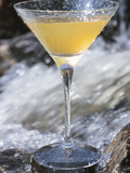 Elegant Orange Martini Next to Flowing Water