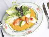 Fresh Gourmet Salad and Vegetables with Elegant Place Setting