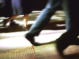Businesspeople Walking over Dictionary Definition of Speed