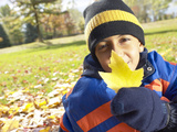 Little Boy Holding Up Yellow Leaf