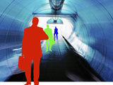 Colorful Silhouettes of Businessmen Looking at Watches in Subway Tunnel