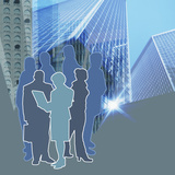 Stylized Group of Blue and Grey People Standing Amongst Downtown Buildings