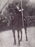 Mrs Haverfield as a Mounted Standard Bearer at a Suffragette Demonstration in Edinburgh