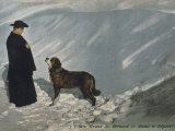 Priest from the Hospice on the St Bernard Pass with One of the Famous Rescue Dogs