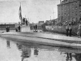 Captured German Submarine Minelayer is on View in the Thames London