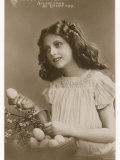 Accept I Beg an Easter Egg  a Pretty Girl Offering Easter Eggs from a Basket