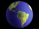 Globe  View of South America