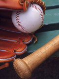 Still Life of Baseball Glove  Ball  and Bat