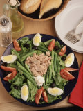 Nicoise Salad and Rolls Ready to Be Served