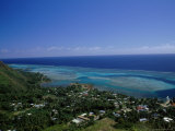 Aerial View of Moorea Showing Village and Reefs