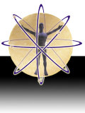 Male Figure in Atom with Electrons