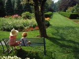 Little Girls on Bench in Garden  OH