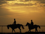 Silhouetted Men Riding on Horses  Dubai  UAE