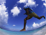 Man Jumping with Waters and Blue