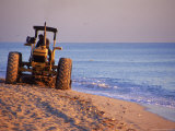 Tractor Plowing Beach  Miami Beach  FL