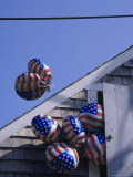 Flag Balloons Flying Out of a Small Door