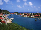 Aerial View of Gustavia Port  St Barts  FWI