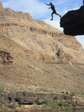 Man Jumping off Cliff  Grand Canyon Natl Park  AZ