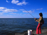 Woman with Fishing Rod  Grand Haven  MI