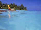 Woman Snorkeling  Maldives Islands  Indian Ocean