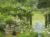 Rose Garden with Wooden Trellis  Little Malvern Court Worcester