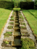 A Long Narrow Rill Water Feature with Stepped Channelling at the Garden Lodge  Wilts
